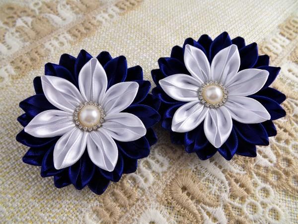 Kanzashi Blumen Haargummi, Kopfschmuck Kinderhaargummi blau