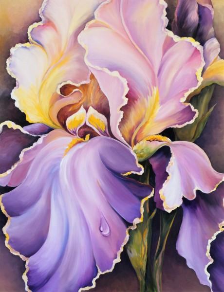 """Ölmalerei """"Iris mit Tautropfen"""""""