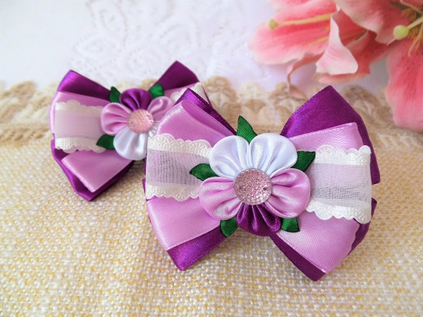 Haarschmuck, Haargummi mit Blume, Schleife lila