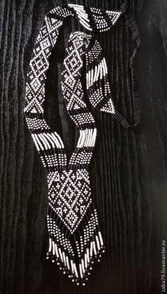 Handgemachter Glasperlen Gerdan schwarz-weiß