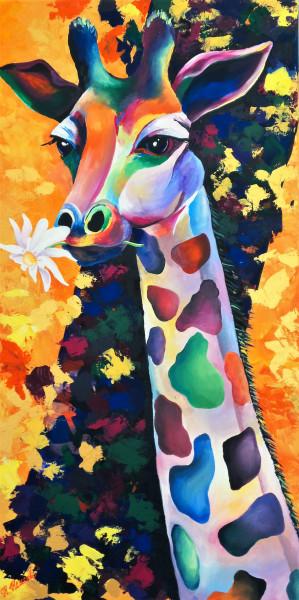 """""""Bunte Giraffe"""" Tiergemälde, Acrylbild"""