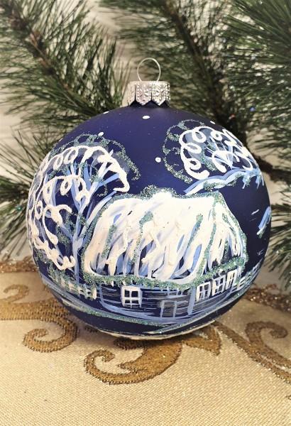 Weihnachtsbaumkugeln Schneesturm, Christbaumschmuck, Christbaumkugeln aus Glas, Handbemalt