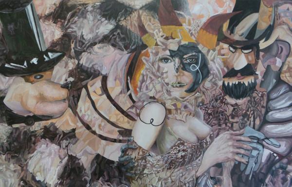 "Abstrakte Acrylbild ""Karneval"""