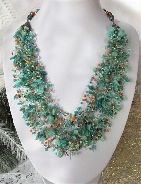 Collier, gehäkelte Halskette, Luftige Kette, Kette mit Naturstein und Perlen