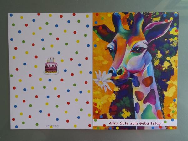 Geburtstagskarte Giraffe, Grußkarte