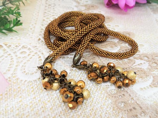 Halsschmuck, Lariat, Seil Halskette, Perlenkette, Häkelkette