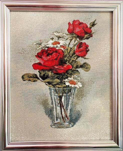 Gobelin Bild ,Strauss im Glas, Gobelin Stickerei, Stickbild