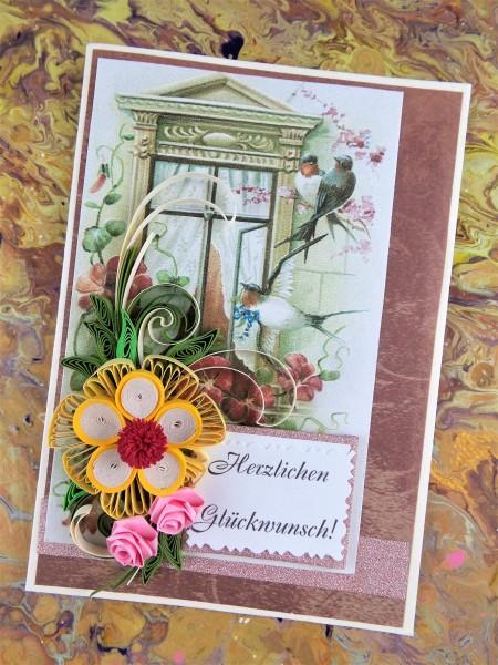 Glückwunschkarte mit Schwalben, Quilling Karte, Grußkarte zum Geburtstag