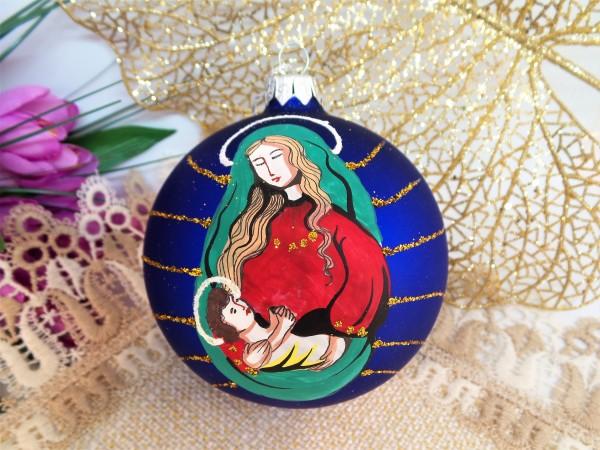 """Weihnachtsbaumkugel """"Maria und Jesus"""", Christbaumkugel aus Glas"""