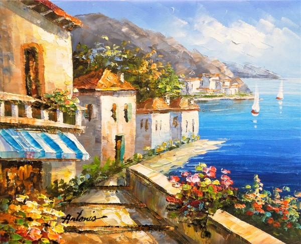 "Meerlandschaft ""Sonne Spaniens"", Landschaft Gemälde mit Meer"