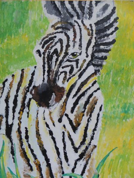 "Kinderbild mit Gouache ""Zebra"", Tupftechnik"