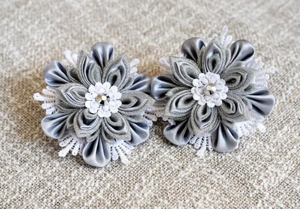 Haargummi für Mädchen, Haarschmuck silber, Kanzashi Blumen
