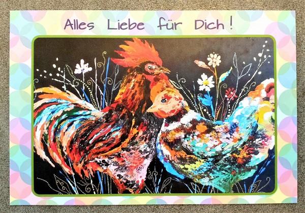 Postkarte mit Hühner