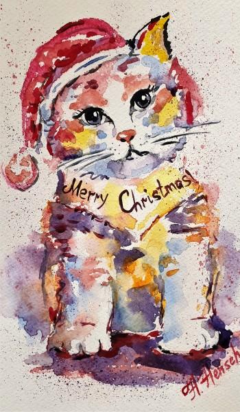 """Aquarellbild """"Weihnachten mit Katze"""", Aquarellmalerei"""