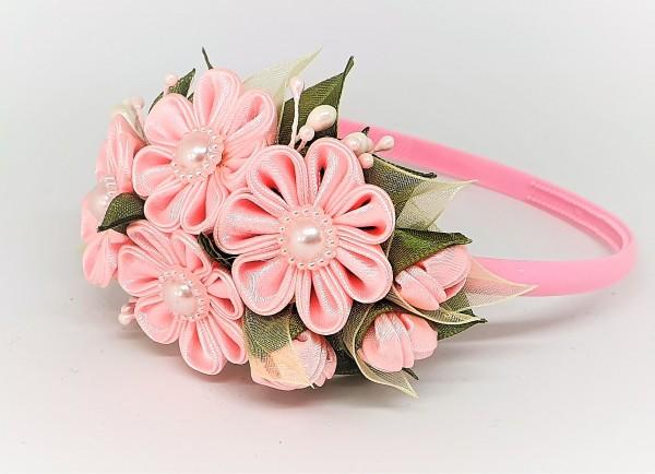 Haarreif mit Blumen, Haarkranz Haarschmuck Kopfschmuck, Kanzashi Blume
