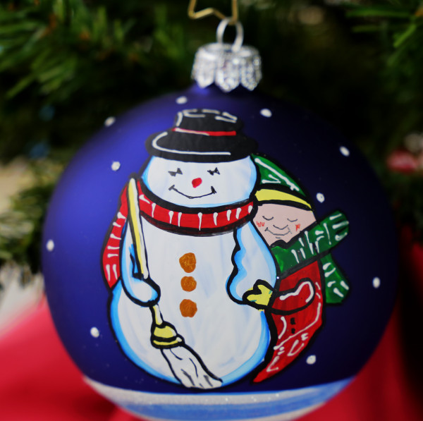 "Weihnachtskugel "" 2 Freunde"", handbemalt"